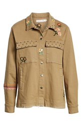 Billy T Embroidery Stud Detail Cotton Twill Jacket Army
