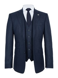 Paul Costelloe Men's Prestbury Wool Donegal Three Piece Suit Navy