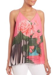 Mary Katrantzou Pleated Rose Print Tank Top