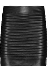 Balmain Quilted Leather Mini Skirt Black