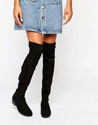 Dune Taliah Suede Flat Over The Knee Boots Black Suede