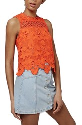 Women's Topshop Floral Lace Shell Top