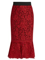 Dolce And Gabbana Cordonetto Lace Fluted Hem Pencil Skirt Red