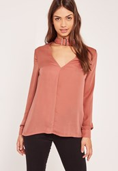 Missguided Pink Buckle Choker Neck Blouse Rose