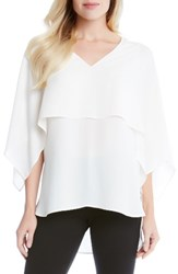 Karen Kane Women's Double Layer Top Cream