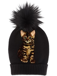 Dolce And Gabbana Cat Pompom Beanie Black