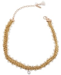 Lonna And Lilly Gold Tone Imitation Pearl Accented Choker Necklace