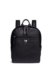Giuseppe Zanotti Logo Plate Leather Backpack Black