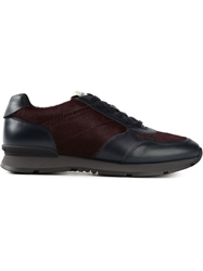 Giorgio Armani Contrasting Panels Sneakers Red