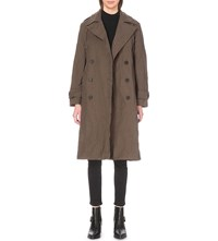 Allsaints Everly Cotton Blend Trench Coat Khaki Green