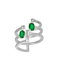Hueb Spectrum 18K White Gold Emerald And Diamond Ring