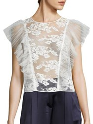 Abs By Allen Schwartz Sheer Lace Cropped Top Ivory