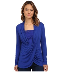 Miraclebody Jeans Tobi Twisted Wrap Top W Body Shaping Inner Shell Electric Blue Women's Blouse