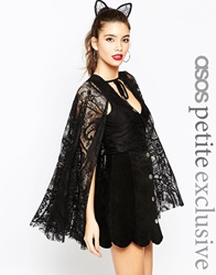 Asos Petite Halloween Playsuit With Lace Cape Black