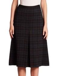 Bottega Veneta Front Pleat Plaid Skirt Nero Peacock