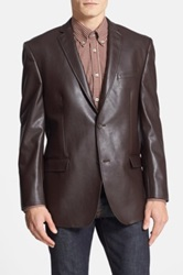 Marc New York Classic Fit Faux Leather Blazer Brown