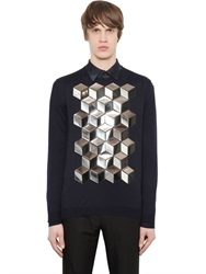 Christopher Kane Laminated Cubes Fine Cashmere Sweater