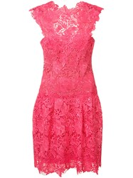 Monique Lhuillier Lace Dress Red