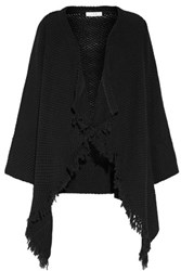 Iro Affy Fringed Open Knit Cotton Cardigan Black