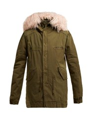 Mr And Mrs Italy Shearling Trim Detachable Hood Cotton Parka Dark Green