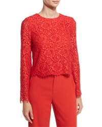 Alice Olivia Pasha Floral Lace Bell Sleeve Top Red