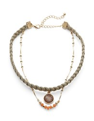 Noir Braided Leather Layered Necklace Natural