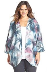 Plus Size Women's Cj By Cookie Johnson Palm Tree Print Kimono Purple Blue
