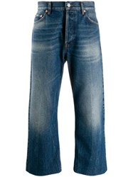 Balenciaga Cropped Wide Leg Jeans Blue