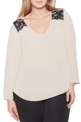 Eloquii Lace Trim V Neck Blouse Plus Size Beige