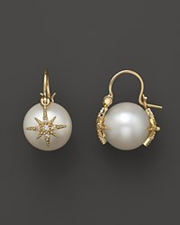 Mizuki 14K Yellow Gold Cultured South Sea Pearl And Diamond Star Charm Earrings White Gold