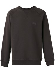 Stussy Logo Embroidered Sweatshirt Grey
