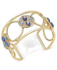 Inc International Concepts Gold Tone Openwork Stone Accented Cuff Bracelet Only At Macy's