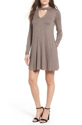Socialite Women's Mock Neck Knit Shift Dress Mocha Black Stripe