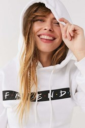 Urban Outfitters Friends Cropped Hoodie Sweatshirt White