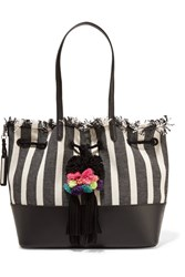 Loeffler Randall Leather Trimmed Fringed Striped Canvas Tote Black
