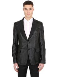 Ettore Bugatti Collection Vertical Laser Cuts Leather Jacket