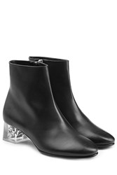Alexander Mcqueen Leather Ankle Boots With Skull In Heel Black