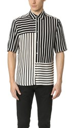Mcq By Alexander Mcqueen Short Sleeve River Shirt Striped Off White