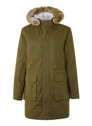Topman Khaki Faux Fur Hood Long Parka Green