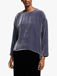 Eileen Fisher Velvet Box Top Blue Shale