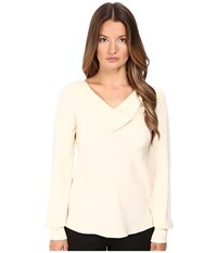 Prabal Gurung Long Sleeve Cowl Neck Blouse Ivory Women's Blouse White