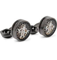 Tateossian Tourbillon Gear Gunmetal Plated Cufflinks Black