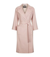 Harrods Of London Belted Virgin Wool Coat Female Pink