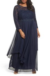 Decode 1.8 Plus Size Women's Lace And Mesh Gown Navy