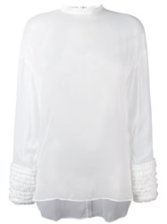 Cedric Charlier Gathered Cuffs Sheer Blouse White