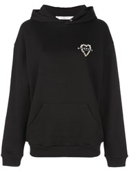 Givenchy Heart Embroidered Logo Hoodie Black