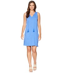 Mod O Doc Slub Jersey Notch Seamed Tank Dress With Pockets Tanzanite Blue