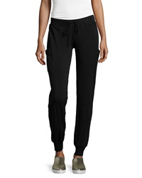 Pink Lotus Cargo Pocket Drawstring Sweatpants Black