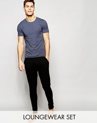 Asos Loungewear Muscle T Shirt And Skinny Joggers Set Save 17 Navy Marl And Black