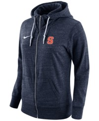 Nike Women's Syracuse Orange Tailgate Gym Vintage Full Zip Hoodie Navy